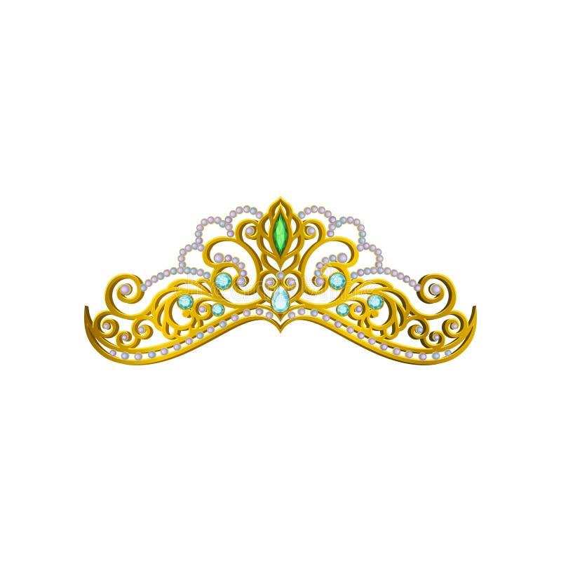 Vector l'icona di bello diadema di principessa decorato con le pietre preziose blu e verdi Corona dorata brillante Accessorio del illustrazione vettoriale