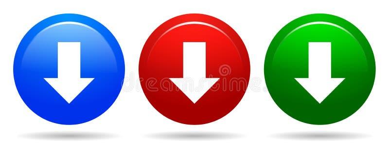 Vector l'icona di rosso blu del bottone rotondo di download e di colore verde illustrazione di stock