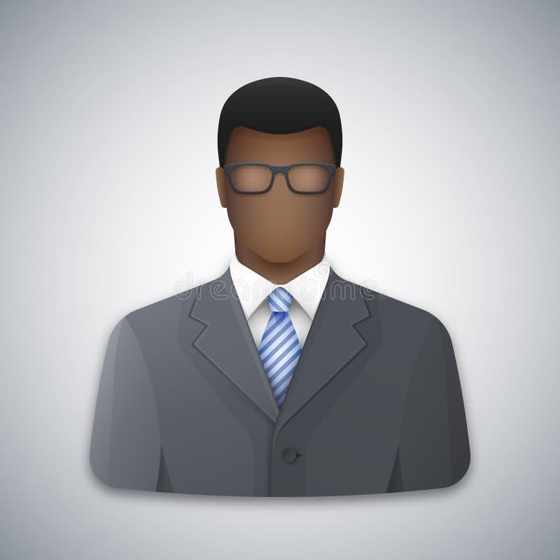 Vector l'icona di un uomo nero di affari con i vetri illustrazione di stock