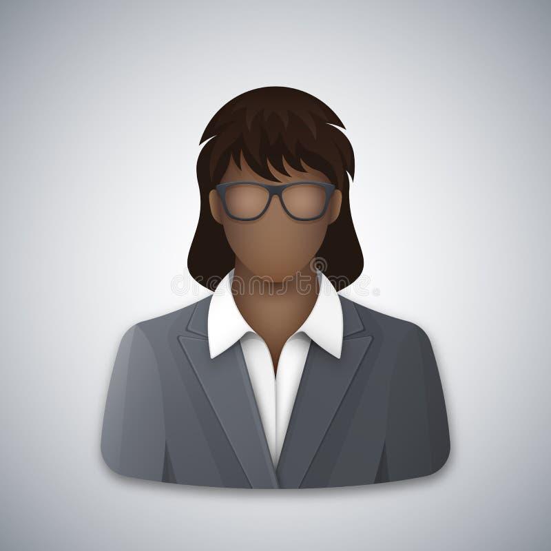 Vector l'icona di una donna nera di affari in vetri illustrazione vettoriale