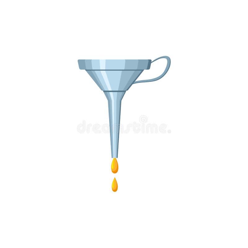 Vector l'icona isolata lubrificante dell'imbuto dell'olio dell'automobile piana illustrazione vettoriale