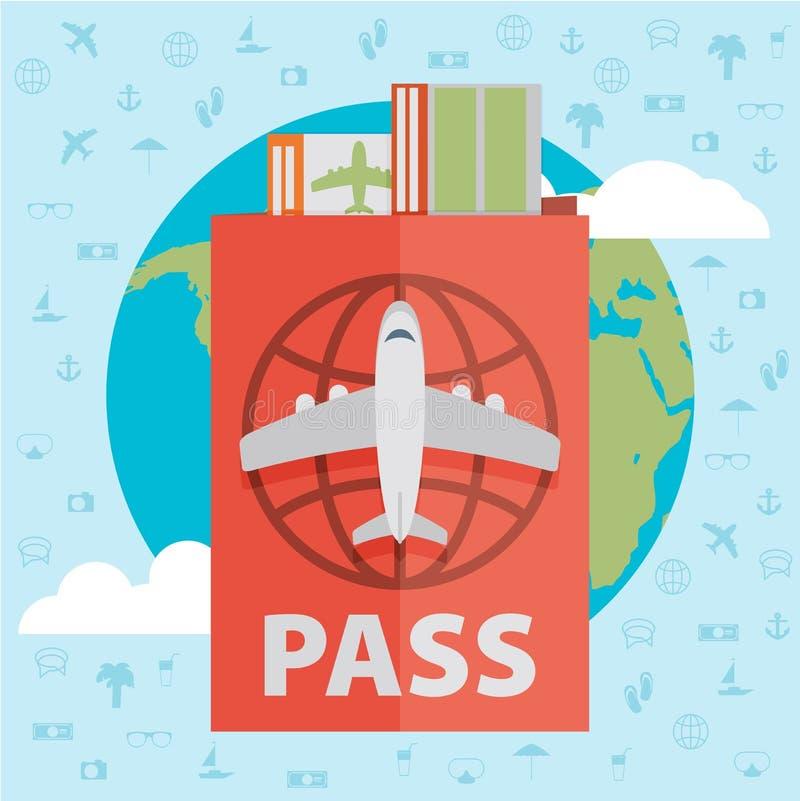 Vector l'icona piana moderna di web di progettazione sui biglietti di linea aerea e viaggi illustrazione vettoriale