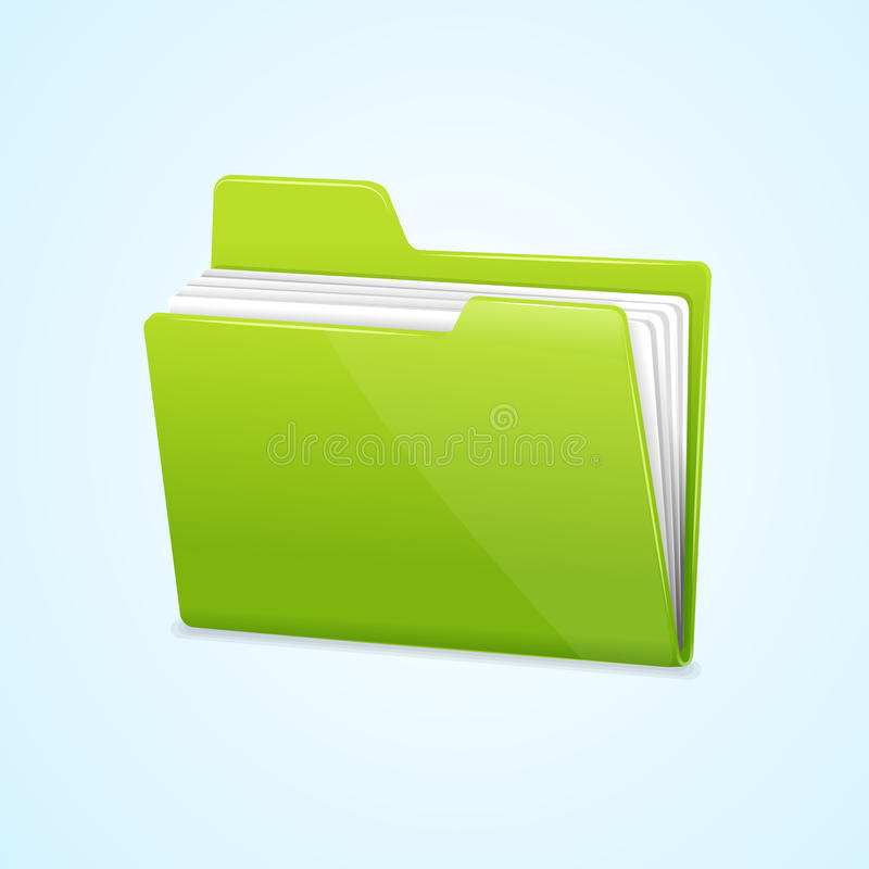 Vector l'icona verde della cartella di archivio isolata sul blu illustrazione di stock
