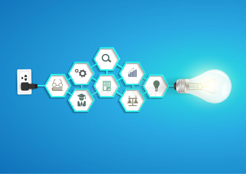 Vector l'idea creativa della lampadina con il chemi di esagono illustrazione vettoriale