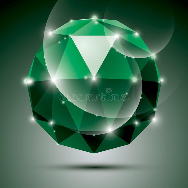 Vector l'illustrazione alla moda, l'effetto verde smeraldo brillante, eps10 Galà 3 illustrazione di stock