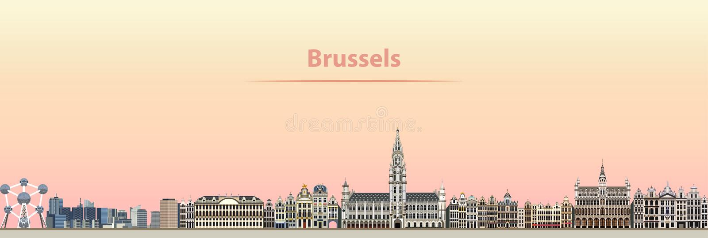 Vector l'illustrazione astratta dell'orizzonte della città di Bruxelles all'alba royalty illustrazione gratis
