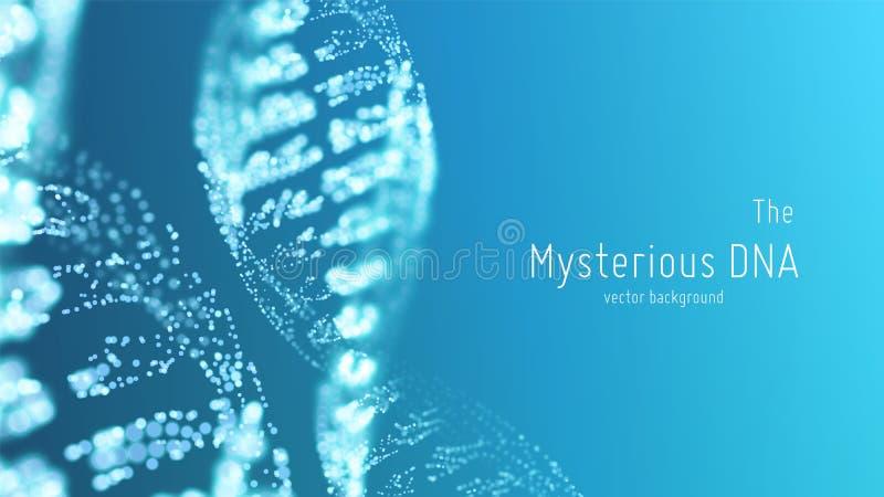Vector l'illustrazione astratta della doppia elica del DNA del blu con profondità di campo bassa Fonte misteriosa di fondo di vit illustrazione vettoriale