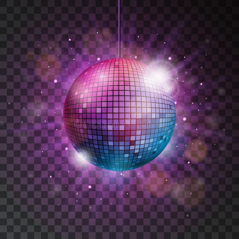 Vector l'illustrazione brillante della palla della discoteca su un fondo trasparente royalty illustrazione gratis