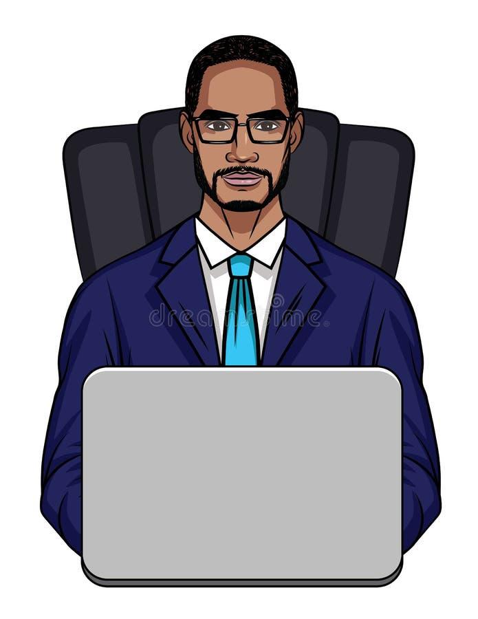 Vector l'illustrazione colorata di un tipo afroamericano che si siede in una sedia dell'ufficio davanti ad un computer illustrazione vettoriale