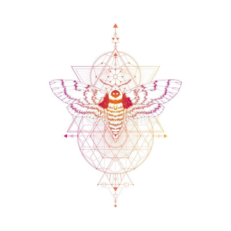 Vector l'illustrazione con il lepidottero disegnato a mano della testa morta ed il simbolo geometrico sacro su fondo bianco Segno illustrazione vettoriale