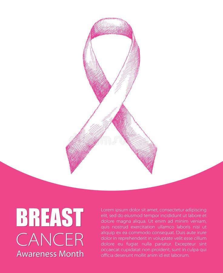 Vector l'illustrazione con il nastro rosa su fondo bianco Simbolo di mese di consapevolezza del cancro al seno illustrazione di stock