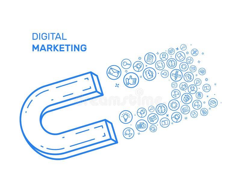 Vector l'illustrazione con l'icona blu nella linea stile piana Concetto di progetto per l'introduzione sul mercato digitale, camp illustrazione vettoriale