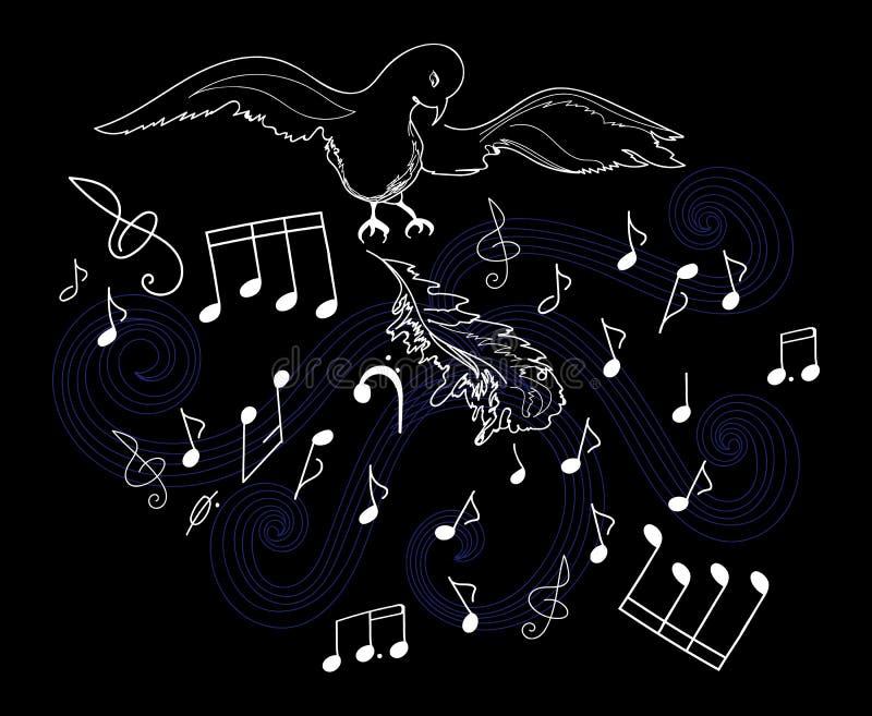 Vector l'illustrazione con l'uccello, le piume e le note musicali illustrazione vettoriale