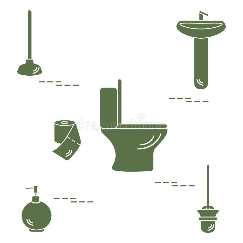 Vector l'illustrazione con la ciotola di toilette, il lavandino, la carta igienica, s illustrazione di stock