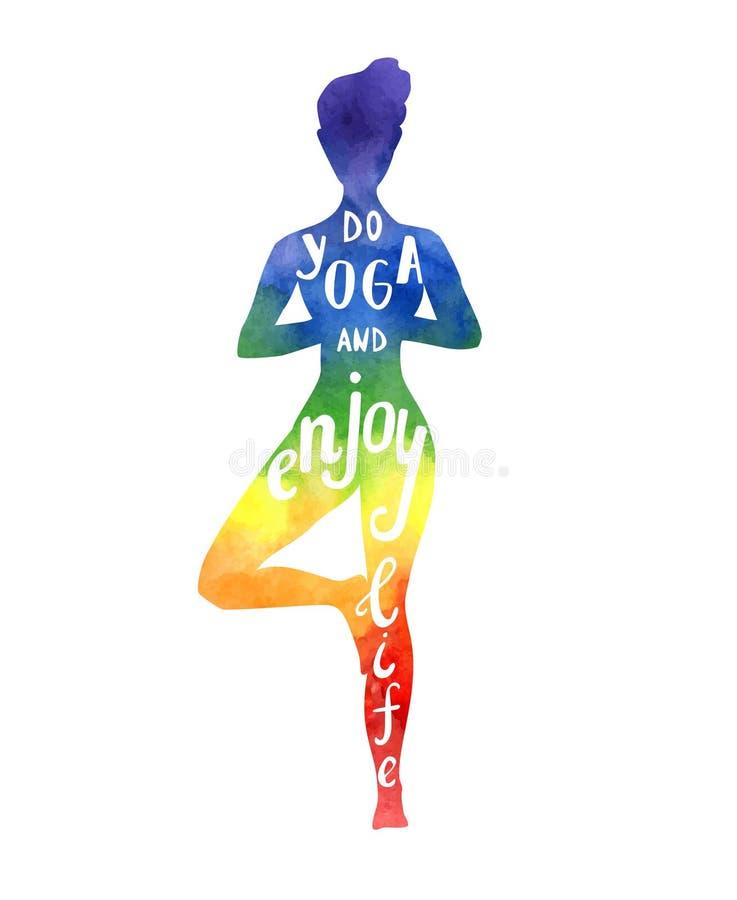 Vector l'illustrazione con la donna di yoga con struttura luminosa nei colori dell'arcobaleno royalty illustrazione gratis