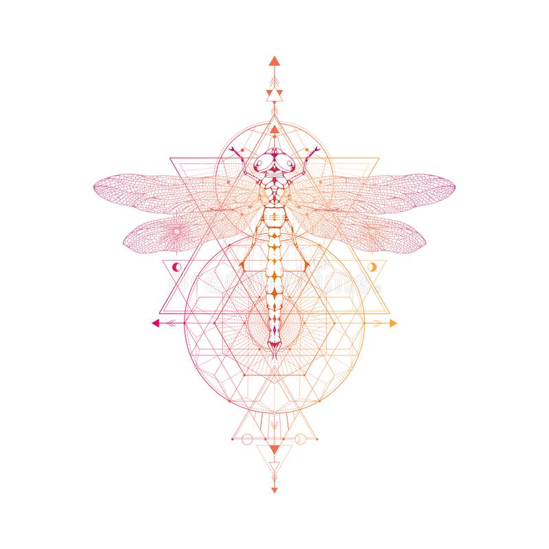 Vector l'illustrazione con la libellula disegnata a mano ed il simbolo geometrico sacro su fondo bianco Segno mistico astratto royalty illustrazione gratis