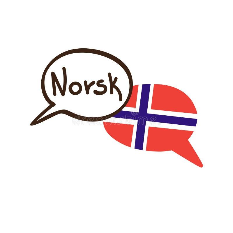 Vector l'illustrazione con la lingua norvegese e la bandiera nazionale della Norvegia royalty illustrazione gratis