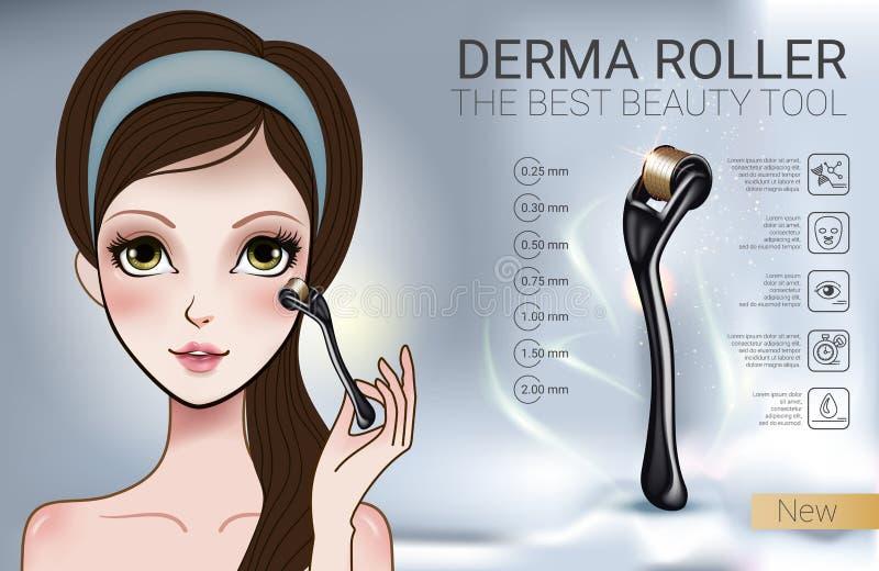 Vector l'illustrazione con la ragazza di stile di manga ed il rullo di derma illustrazione vettoriale