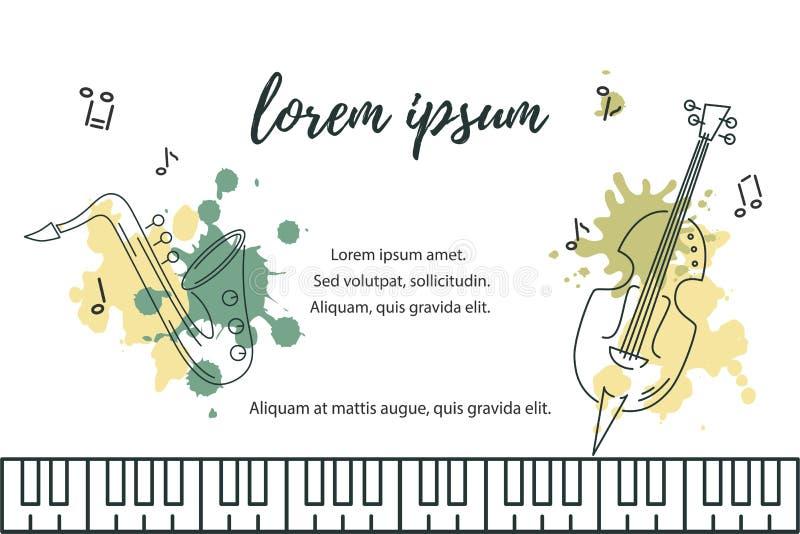 Vector l'illustrazione con la tastiera del sassofono, del contrabbasso e di piano illustrazione di stock