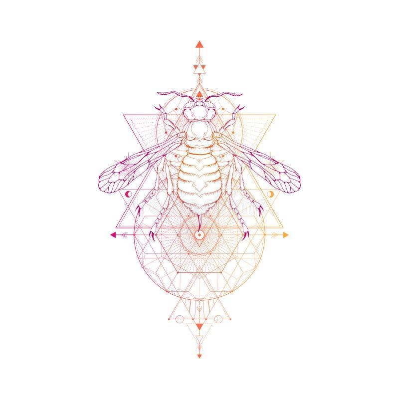 Vector l'illustrazione con la vespa disegnata a mano ed il simbolo geometrico sacro su fondo bianco Segno mistico astratto Sha li illustrazione di stock