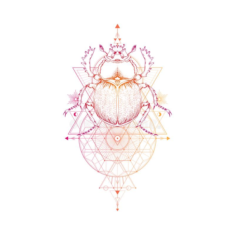 Vector l'illustrazione con lo scarabeo disegnato a mano ed il simbolo geometrico sacro su fondo bianco Segno mistico astratto S l illustrazione di stock