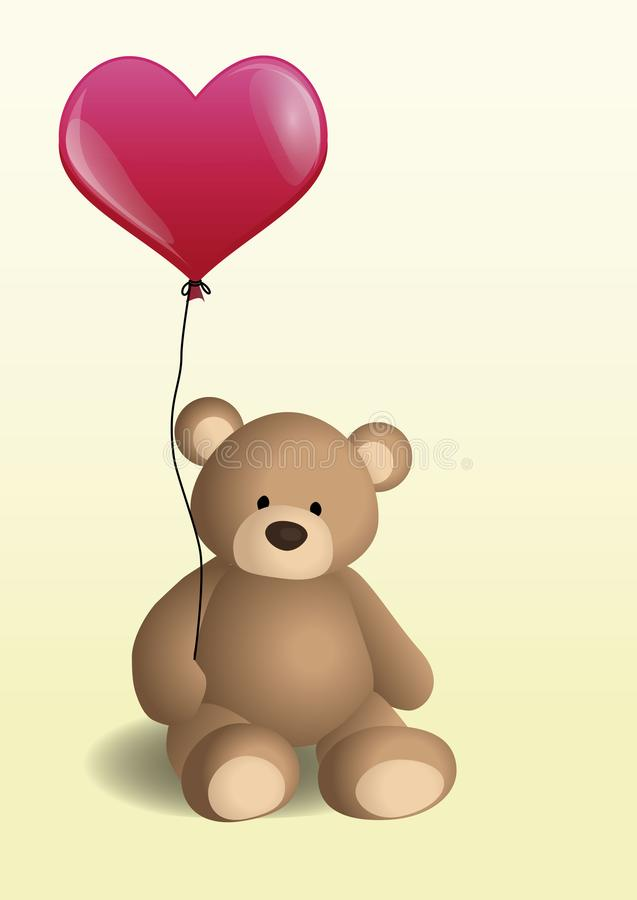 Vector l'illustrazione con un orsacchiotto marrone che tiene un pallone rosso nella forma di cuore illustrazione di stock