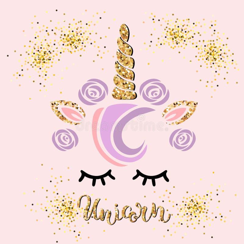 Vector l'illustrazione con l'unicorno e l'unicorno scritto a mano dell'iscrizione illustrazione vettoriale