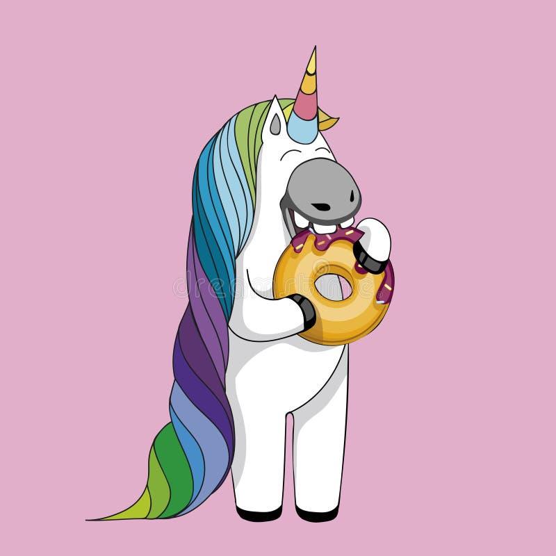Vector l'illustrazione con l'unicorno sveglio del fumetto che mangia le guarnizioni di gomma piuma saporite E royalty illustrazione gratis