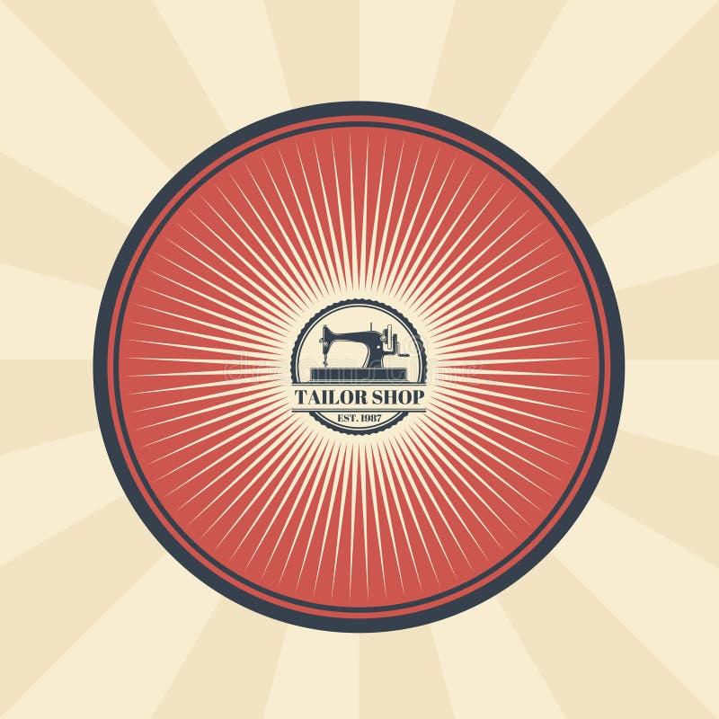 Vector l'illustrazione d'annata del distintivo, l'autoadesivo, segno per il negozio del sarto s con una macchina per cucire illustrazione di stock