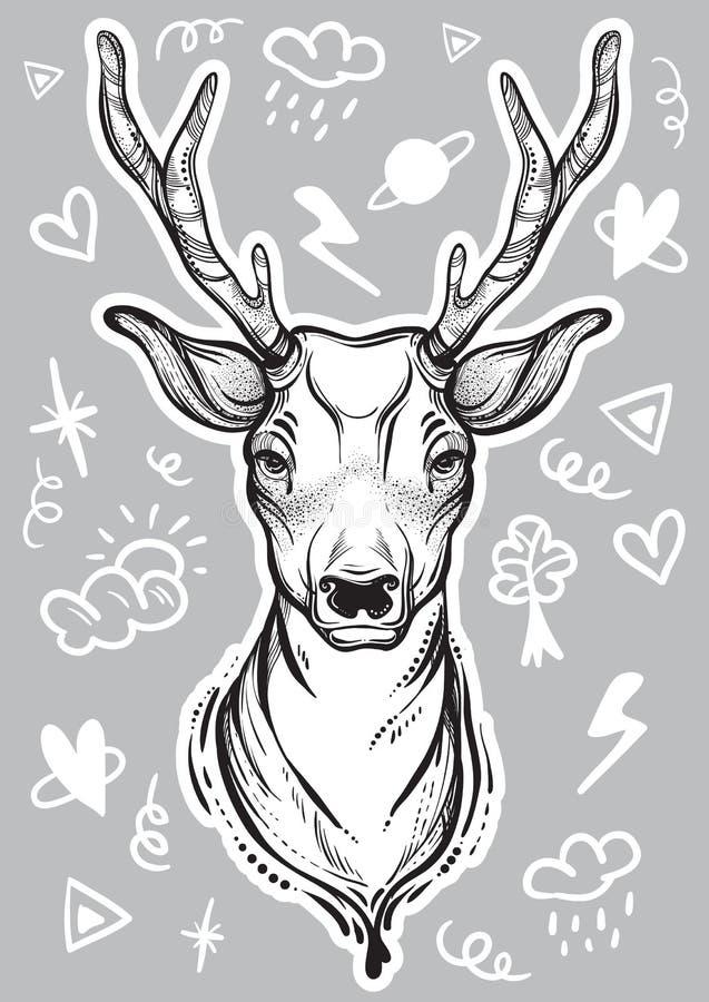 Vector l'illustrazione d'avanguardia con i cervi di stile di schizzo e scarabocchii i segni intorno Arte di concetto Tatuaggio, a royalty illustrazione gratis