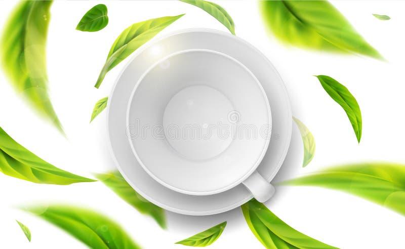 Vector l'illustrazione 3d con le foglie di tè verdi nel moto illustrazione vettoriale