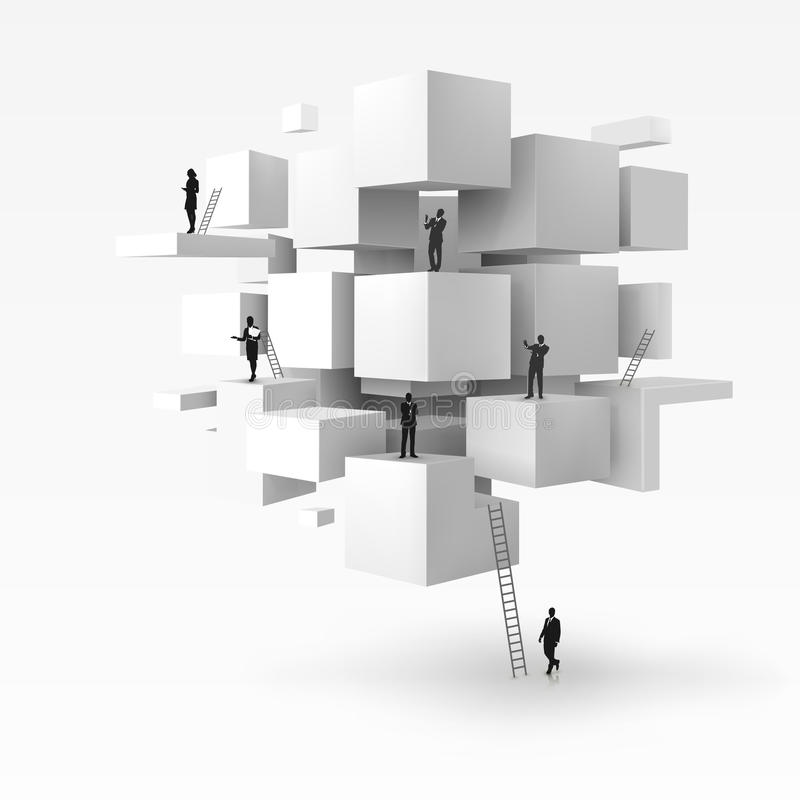 Vector l'illustrazione 3D dell'uomo d'affari sui cubi geometrici royalty illustrazione gratis