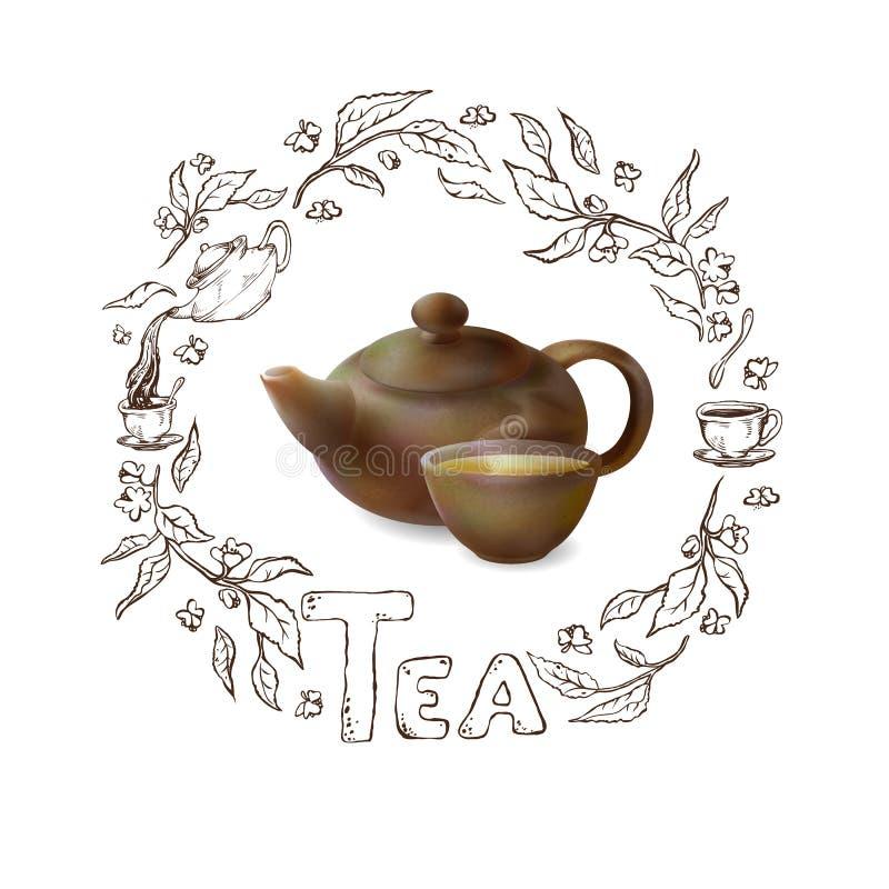 Vector l'illustrazione 3d di un tè in articoli marroni Teiera dell'argilla e tazza di tè caldo su un fondo bianco Struttura diseg royalty illustrazione gratis