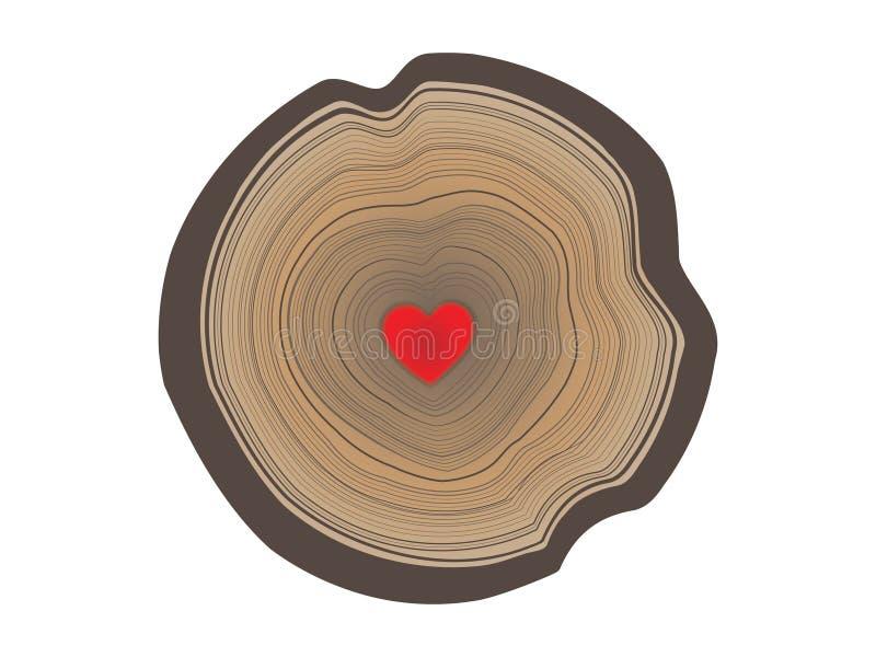 Vector l'illustrazione degli anelli annuali dell'albero con cuore nel mezzo a colori illustrazione vettoriale