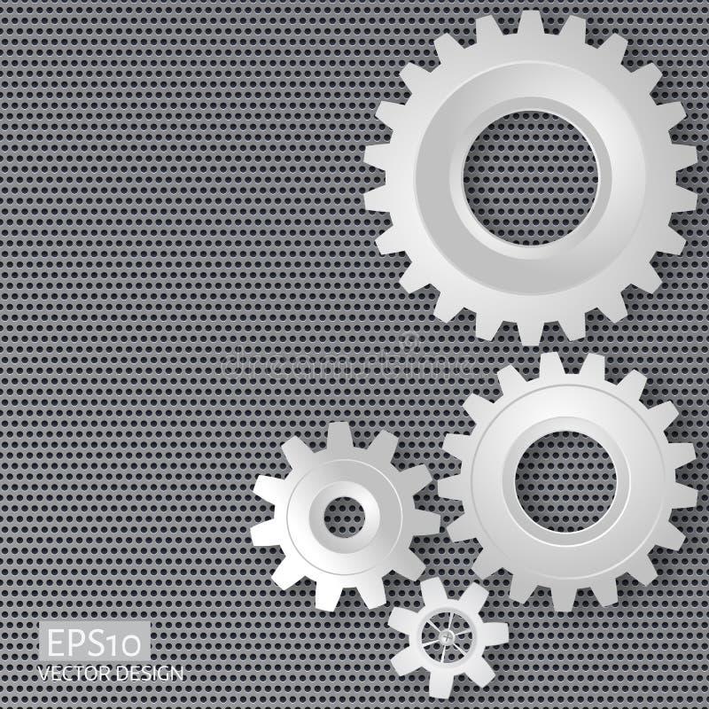 Vector l'illustrazione degli ingranaggi con sull'ingranaggio su meta perforato illustrazione vettoriale