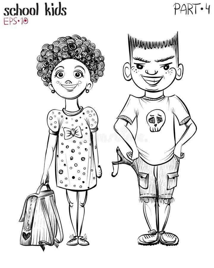 Vector l'illustrazione degli scolari, del ragazzo dello spaccone e della ragazza illustrazione vettoriale