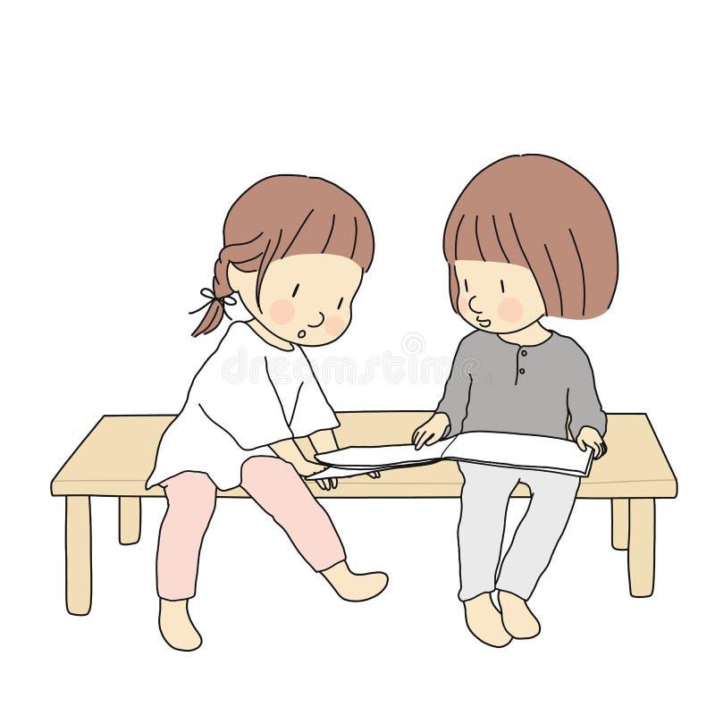 Vector l'illustrazione dei bambini che si siedono insieme e che leggono il libro di storia Attività di sviluppo di prima infanzia illustrazione di stock