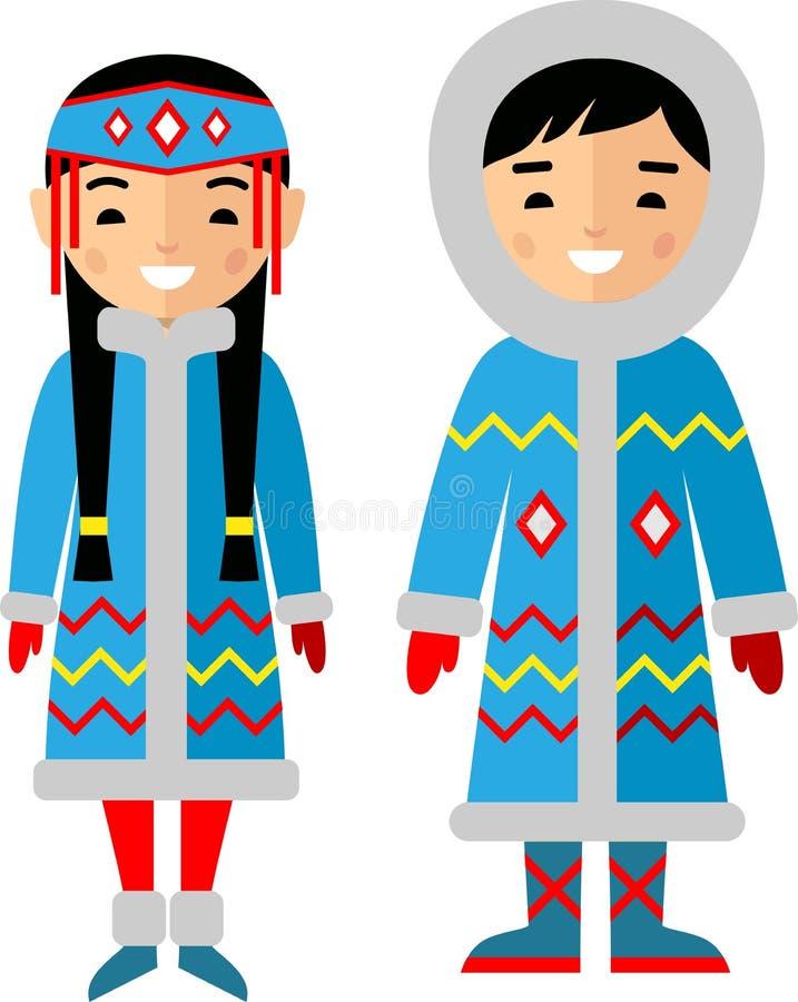Vector l'illustrazione dei bambini eschimesi, il ragazzo, la ragazza, la gente royalty illustrazione gratis