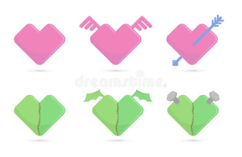 Vector l'illustrazione dei cuori per il giorno di biglietti di S. Valentino della st illustrazione di stock
