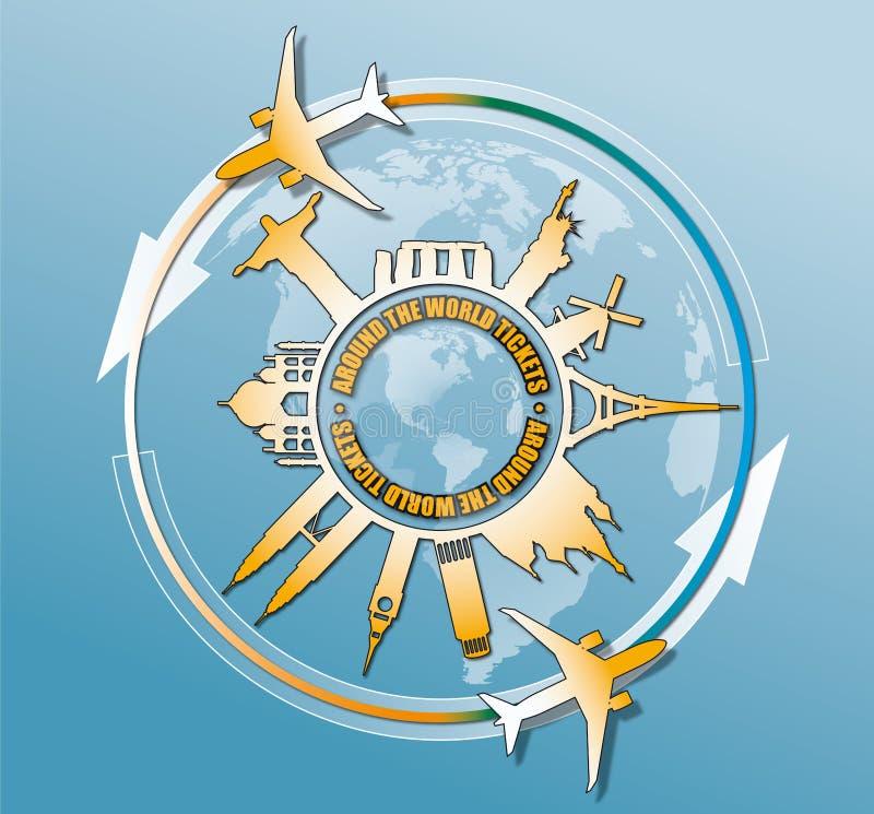 Vector l'illustrazione dei monumenti famosi di viaggio intorno al mondo royalty illustrazione gratis