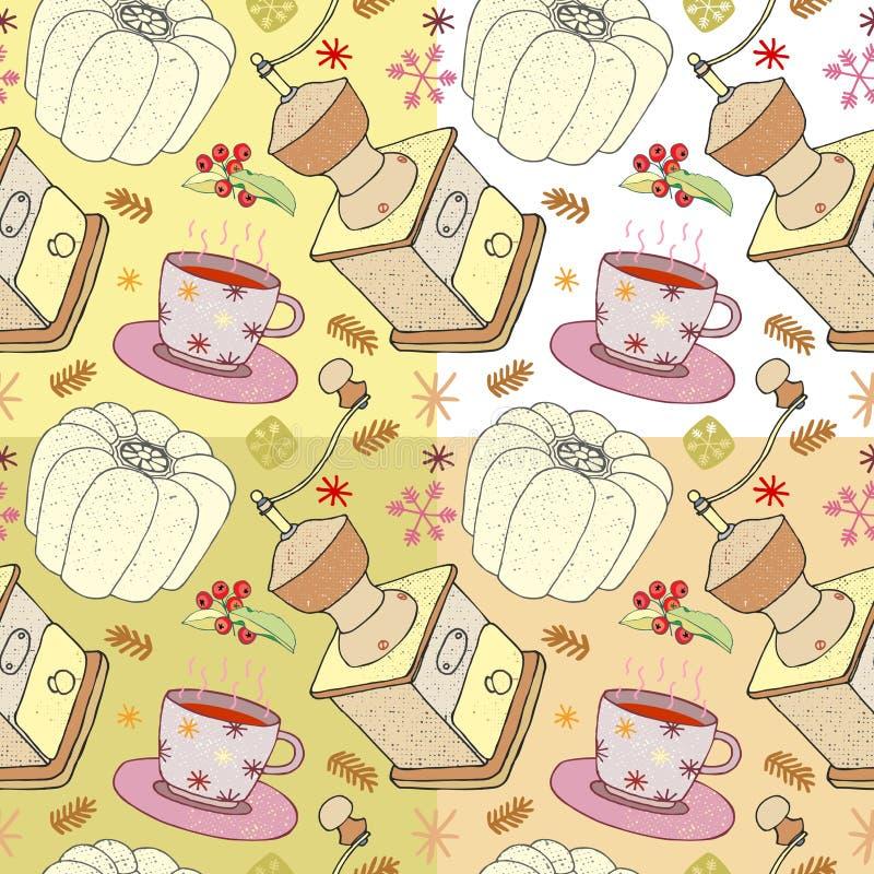 Vector l'illustrazione dei piatti, della smerigliatrice, del dolce e della tazza di Natale di cioccolato, modelli senza cuciture  illustrazione di stock