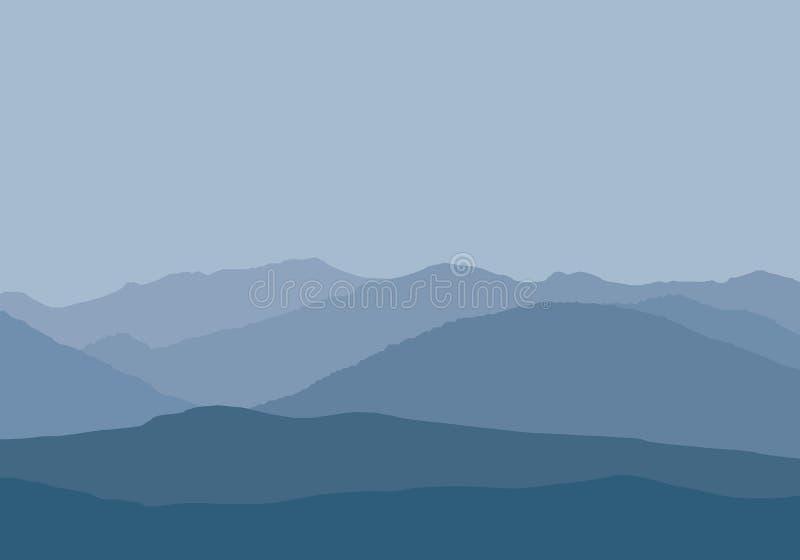 Vector l'illustrazione dei picchi di montagna in foschia nebbiosa sotto grigio-b royalty illustrazione gratis