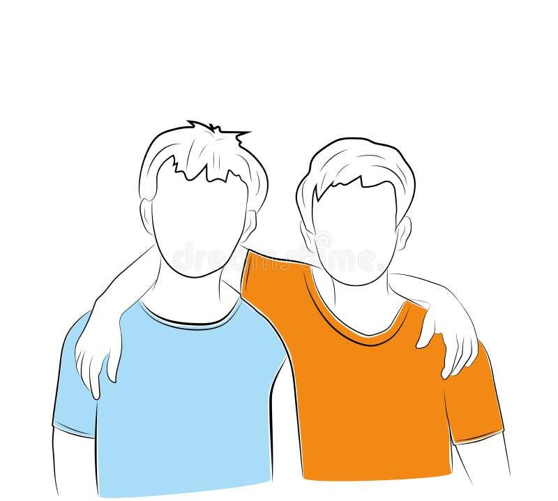 Vector l'illustrazione dei ragazzi che accolgono il giorno di amicizia royalty illustrazione gratis