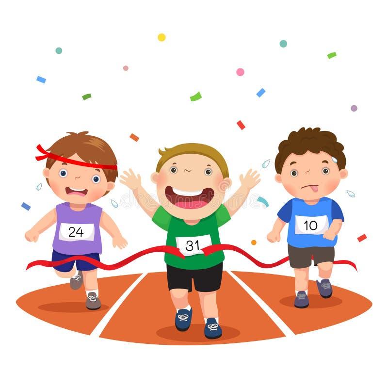 Vector l'illustrazione dei ragazzi su una pista di corsa su un fondo bianco royalty illustrazione gratis