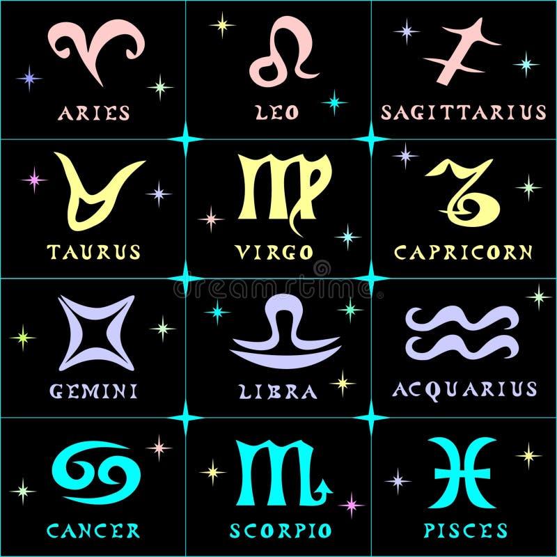 Vector l'illustrazione dei simboli ed i nomi delle costellazioni royalty illustrazione gratis