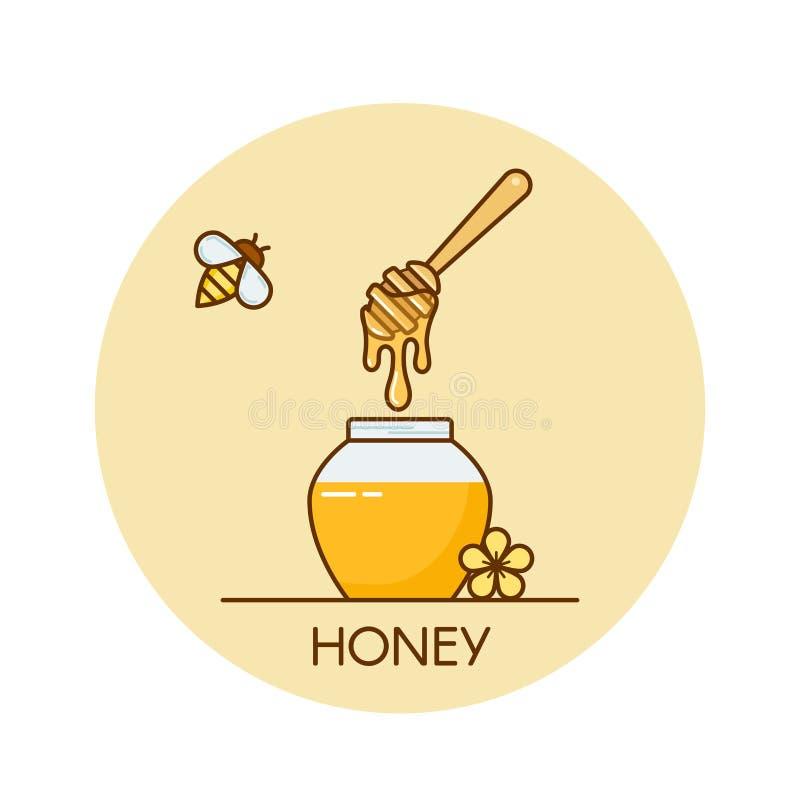 Vector l'illustrazione del barattolo con miele ed il merlo acquaiolo di legno Insegna piana di concetto del progettista del profi illustrazione di stock