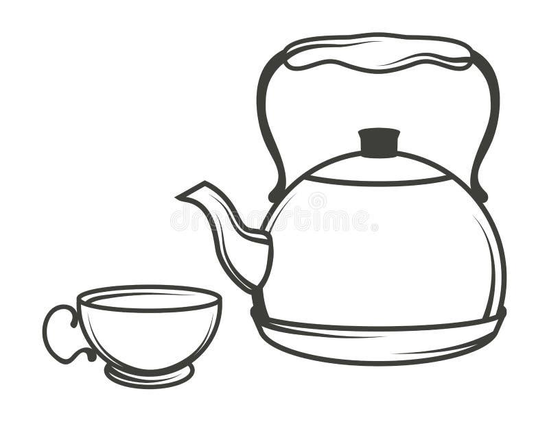 Vector l'illustrazione del bollitore di tè, teiera disegnata a mano su fondo bianco, logo del bollitore di tè illustrazione di stock