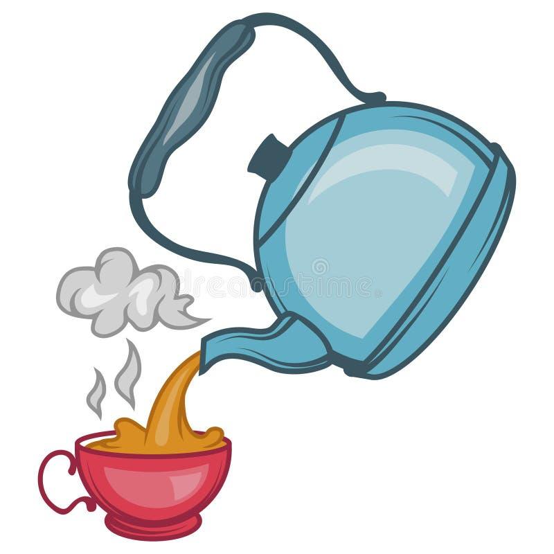 Vector l'illustrazione del bollitore di tè, teiera disegnata a mano su fondo bianco, logo del bollitore di tè royalty illustrazione gratis