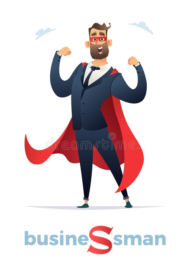 Vector l'illustrazione del carattere dell'eroe eccellente degli uomini d'affari, supereroe dell'uomo dell'impiegato di concetto U illustrazione di stock