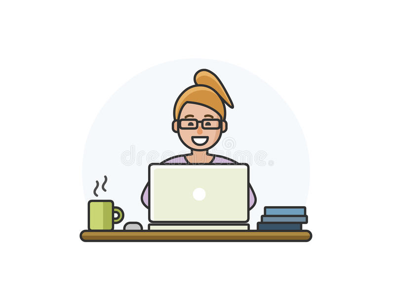 Vector l'illustrazione del carattere della donna del fumetto che lavora al computer royalty illustrazione gratis